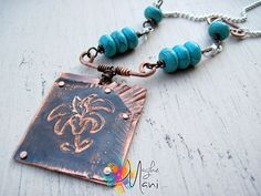 "Necklace ""Campanula"": copper, turquoise paste, silver metal, etching"