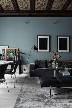 gray blue walls with black furniture. / sfgirlbybay