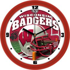 Mens Wisconsin Badgers - Football Helmet Wall Clock