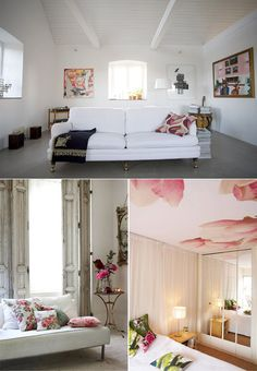 Floral pillows in lower left picture