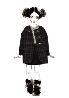 Large checked wool coat by Pale Cloud Girls for kidswear fall/winter 2015
