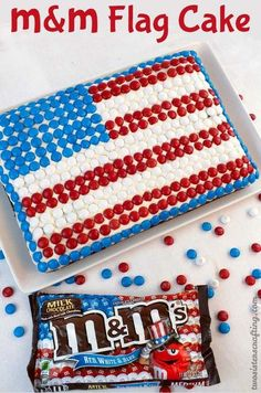 M&M Fourth of July cake. Could do these with cupcakes too!