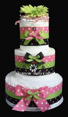Retro Mommy (Pink, Green and Black)  Diaper Cake, Baby Shower Centerpiece