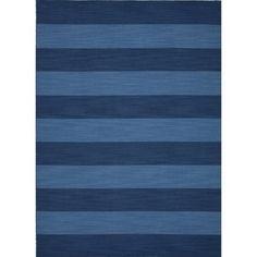 Flat Weave Stripe Blue Wool Rug (8' x 10')