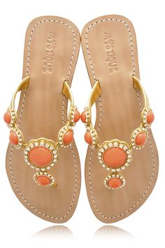 Stunning leather sandals by Mystique in a beautiful coral color.