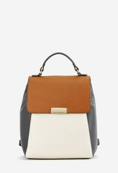 c98952d8b1b She s So Glam Colorblocked Backpack in Cognac Black White - Get great deals  at