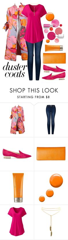 """""""Duster Coats"""" by loves-elephants ❤ liked on Polyvore featuring Clinique, Bill Blass, 2LUV, Nicholas Kirkwood, Frye, Moroccanoil, Topshop and Lands' End"""