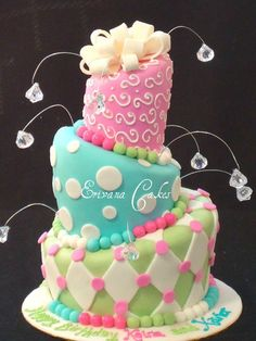 topsy turvy cake ...love the gems on wires
