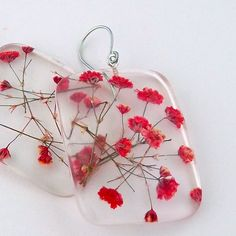 Earrings | Summer Smith. Pressed red baby's breath that are encased in resin…