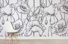 black-white-illustrated-flowers-room