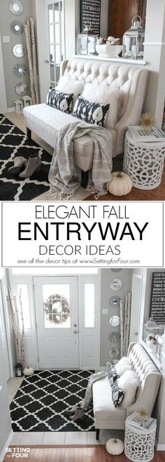 See my Elegant Fall Entryway Decor Ideas to add warmth and texture to your home for autumn! Don't miss any of my Fall neutral foyer decorating tips including ideas for the perfect stain resistant entryway area rug, a stylish settee for seating, cozy pillows, lantern filler ideas, birch and pinecone accent decor and more to create an entryway you and your family will love! All of the furniture and decor items are linked up in the post so you can copy the look in your home!