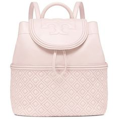 Tory Burch Fleming Backpack (£430) ❤ liked on Polyvore featuring bags, backpacks, bedrock, backpack bags, day pack backpack, drawstring knapsack, tory burch and rucksack bags