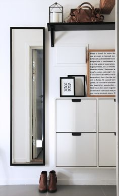 IKEAs Ställ skoskåp | These shoe cabinets can provide handy storage in several places. They can round up all kinds of things besides shoes. I have them in my bedroom to hold books and papers, eliminating messy stacks. They are large enough to hold TP, rolled towels and bottles of spray cleansers in a bathroom. They could be used in offices as well.