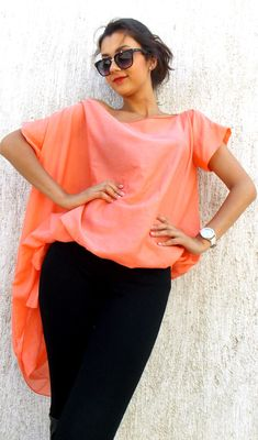 Just launched! Coral Asymmetrical Silk Cotton Top / Extravagant Chiffon Blouse TT25 https://www.etsy.com/listing/200848157/coral-asymmetrical-silk-cotton-top?utm_campaign=crowdfire&utm_content=crowdfire&utm_medium=social&utm_source=pinterest