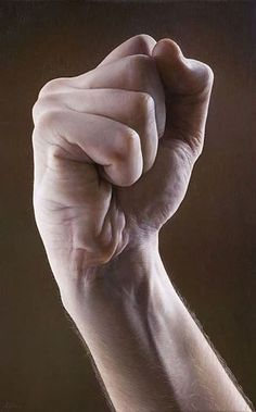 Artist: Javier Arizabalo {contemporary #hyperreal male hand photorealism fist painting}: