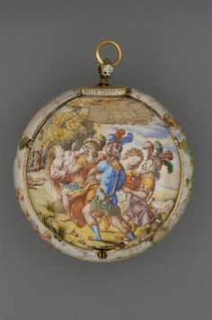 GOLD AND PAINTED ENAMEL CASED VERGE WATCH. France       1645-1655.