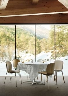 """We travelled to the idyllic mountains on the western coast of Norway, where we visited the Juvet Landscape Hotel. Described as a synthesis of """"raw Norwegian nature, cultural history and modern architecture"""", this unique hotel and breath-taking location provided the perfect backdrop for photoshoot of Flokk furniture: HÅG, RBM, RH and BMA. #JuvetLandscapeHotel #architecture #flokk #norway unique hotel europe architecture hotel design project with a  breath-taking location"""