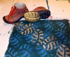 Fabric Stamping and Printing with shoes! Buy at the thrift store & yard sales cheap & make ur own fabulous fabric prints.