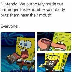 couldn't resist the temptation Spongebob Memes, Cartoon Memes, Cartoons, Nintendo, Best Memes, Dankest Memes, Beste Comics, Monster Board, Video Game Memes
