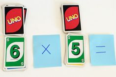 Math games for kids: Uno Flip for times tables and equations
