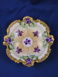 Old Plates, Antique Plates, China Plates, Antique China Dishes, Vintage Dishes, Vases, Sweet Violets, China Painting, All Things Purple