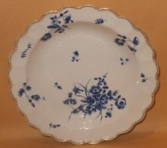 WORCESTER DRY BLUE HANDPAINTED FLOWERS DESSERT PLATE C1775  | eBay