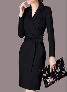 Solid Long Sleeve Knee-Length Sheath Dress - Black S Classy Dress, Classy Outfits, Chic Outfits, Long Sleeve Work Dress, Green Midi Dress, Dress Black, Lace Homecoming Dresses, Prom Dress Shopping, Professional Dresses