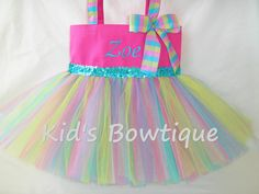 Monogrammed Tutu Tote Bag  Personalized Hot Pink by kidsbowtique