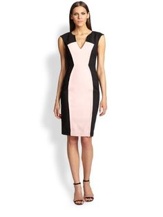 210106a7 $415 Black Halo Black Pale Pink Vneck Heston Zipper Vent Sheath Dress 2 NWT  B728 #