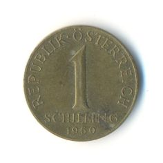 Austria One Schilling 1960 Coin Code:RSC1342 by COINSnCARDS