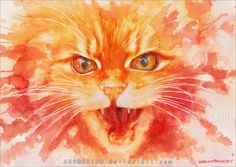 "Traditional work with watercolors and ink. Study of ~Melonkittens kitty ""Krümel"". Done in 2011. Shop: » Ebay « There are signed prints in stock of this artwork. Please send a note for ordering.Pric..."