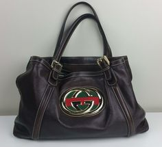 AUTHENTIC GUCCI BRITT Dark Brown Leather Gold Tone Logo Satchel Handbag