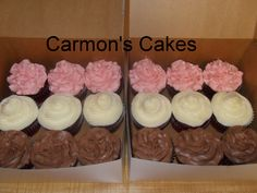 Red Velvet Cupcakes with Strawberry Icing, Cream Cheese Icing, and a Whipped Chocolate Frosting:-)