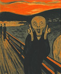 So much more satisfying!  edvard-munch-scream-thumbs-up by ajkohn2001, via Flickr
