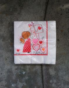 Vintage 1970's Little Girl Valentine's Heart Paper Napkins Set of 16 Never Opened