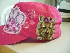 How cute is this? handpainted yorkie cap!!