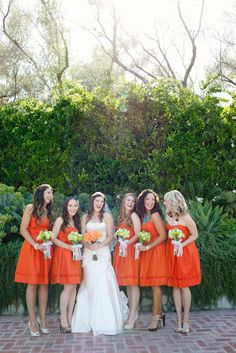 Bridesmaids - same dress, but the bride allowed them to accessorize it however they wanted! Love love love LOVE this!!!!!!!!
