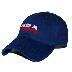 USA Needlepoint Hat in Navy by Smathers & Branson