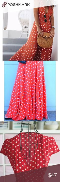 EOS maxi dress polka dot Color is Red with White Polka Dot Hand wash cold Wrap detail 157 cm in length Made from lightweight georgette fabric with a dry handfeel - 100% viscose, unlined. Not sheer.  1 small hole in seam at side allowing a surplice true wrap tie. Skirt bottom creates an ideal hour-glass silhouette  Flow effortlessly upon movement  Elongating full/ maxi style Dresses Maxi