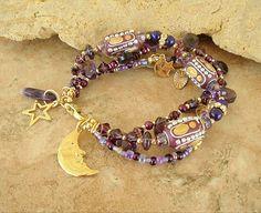 Boho Bracelet Layered Purple Gypsy Bracelet Gypsy by BohoStyleMe
