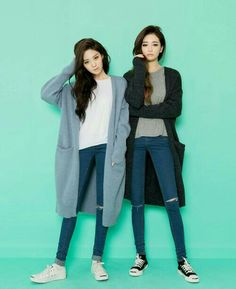 korean fashion similar twin look coat blue denim jean pants sweater casual winter warm