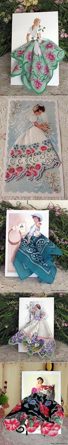 Винтажные открытки с дамами в юбках из носовых платков