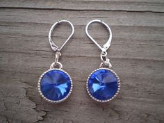 Faceted Blue Crystal Leverback Earrings by tlw1212 on Etsy