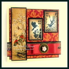 handmade greeting card from Get The JC Look . Asian theme with gorgeous printed papers and a pair of panels that look like silk paintings on a wall . Chinese New Year Greeting, New Year Greeting Cards, Greeting Cards Handmade, Japanese Quilts, Japanese Paper, White Sharpie, Asian Crafts, Asian Quilts, Graphic 45