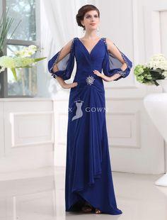 royal blue beaded peek-a-boo three quarter sleeve v-neck sheath long draped chiffon evening dress