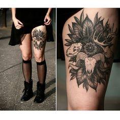 Thigh piece by @alicerules Portland, Oregon #tattrx #tattoos #alicecarrier #thightattoo #blackandgreytattoos #blackandgraytattoos #ink #tatuajes #tätowierung #tatueringer #tetování #portland #oregon