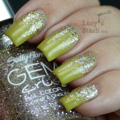 Glitter gradient nail art with OPI and Sally Hansen