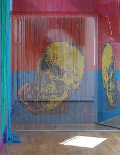 Philippe Bradshaw via Thaddaeus Ropac. Skull Gold Red Blue, 2004  anodised aluminum chains