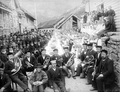 The people of the Eksingedalen valley in Norway celebrating that parts of the new road through the valley have been completed. The celebrations took place at Flatekval in 1898.
