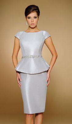 c2a7ec7447 Rina Di Montella 1807 Cap Sleeve Evening Dress with Peplum